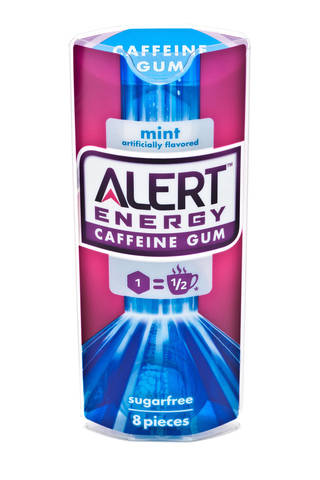"This product image provided by the Wm. Wrigley Jr. Company shows packaging for Alert Energy Caffeine Gum. Wrigley says it is taking a new caffeinated gum off the market temporarily as the Food and Drug Administration investigates the safety of added caffeine. The company said Wednesday, May 8, 2013, that it has stopped new sales and marketing of Alert Energy Caffeine Gum ""out of respect"" for the agency, which said it would investigate the health effects of added caffeine in foods just as Wrigley rolled out Alert late last month. A stick of the gum is equivalent to half a cup of coffee. - AP PHOTO"