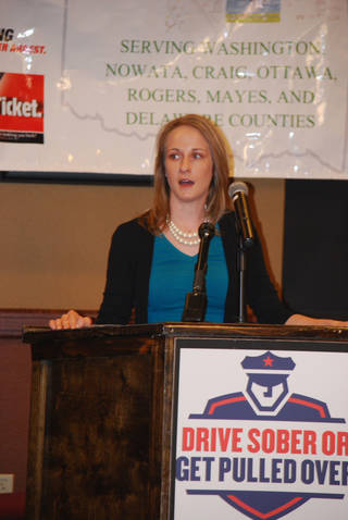 Jessi Scott speaks at the four-state kickoff of Drive Sober or Get Pulled Over. Photo provided