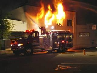 Overnight fire in downtown Wewoka. Photo provided by Stu Phillips, Wewoka Times