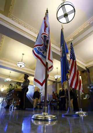 Fire Major David Shearer, left, and Police Capt. Nate Tarver stand Honor Guard watch as the body of former Oklahoma City Mayor Patience Latting lies in state at city hall on Thursday, Jan. 3, 2013 in Oklahoma City, Okla. Photo by Steve Sisney, The Oklahoman STEVE SISNEY - THE OKLAHOMAN