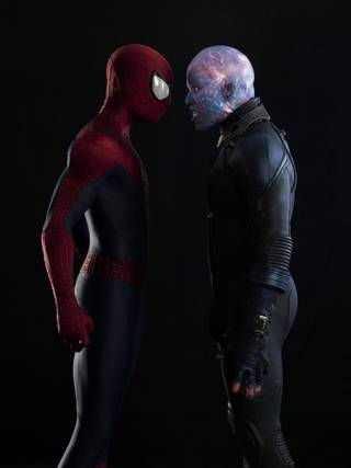 "Andrew Garfield, left, stars as Spider-Man, and Jamie Foxx is Electro in ""The Amazing Spider-Man 2."" Photo Provided"