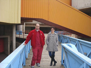 Farooq Karim and Tracey Zeeck stand along one of the ramps leading into downtown Oklahoma City's closed Stage Center. They hope to turn the building into a children's museum. Photo Provided