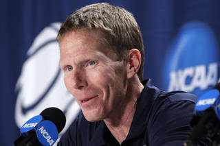 Gonzaga coach Mark Few answers a question during a media availability at the East Regional NCAA tournament in Pittsburgh, Friday, March 16, 2012. Gonzaga plays Ohio State in a third-round college basketball game Saturday. ( AP Photo/Gene J. Puskar)