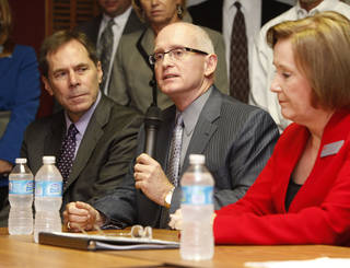 Oklahoma City Public Schools Superintendent Karl Springer, left, Edmond Superintendent Dr. David Goin, and Union Superintendent Cathy Burden speak Thursday, Oct. 4, 2012, during a news conference as school chiefs from across the state are meeting in Oklahoma City to express concern and frustration about the A-F school evaluation reform. Photo By Paul Hellstern, The Oklahoman PAUL HELLSTERN - Oklahoman