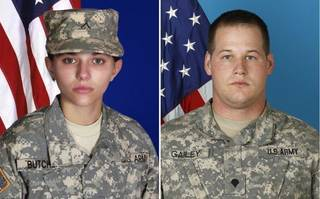 From left to right, Pfc. Sarina Butcher, 19, of Checotah and Spc. Chris Gailey, 26, of Ochelata. From Tulsa World.
