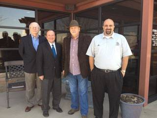 Mike North, of Edmond, third from left, recently gave $40,000 to Southwestern Oklahoma State University to support the President's Leadership Class program on the Weatherford campus. Accepting for the university were, from left, Alumni Association Board Member Johnny Beech, President Randy Beutler and Assistant to the President Rouben Tourian. PHOTO PROVIDED BY SWOSU