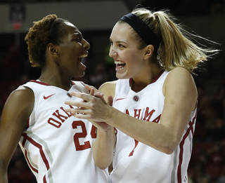 Oklahoma Sooner's Nicole Kornet (1) and Sharane Campbell (24) celebrate Gioya Carter's basket and being awarded a foul shot in the second half as the University of Oklahoma Sooners (OU) defeat the Kansas Jayhawks 64-61 in NCAA, women's college basketball at The Lloyd Noble Center on Saturday, Feb. 22, 2014 in Norman, Okla. Photo by Steve Sisney, The Oklahoman