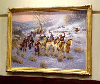 """A painting depicting what is known as the """"Trail of Tears"""" was unveiled Monday at the state Capitol. The piece by artist Wayne Cooper is sponsored by Cherokee Nation businesses and Principal Chief Bill John Baker. PHOTO BY RICK M. GREEN, THE OKLAHOMAN Rick Green"""