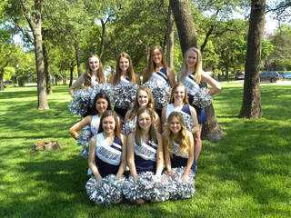 2014-15 Edmond North High School junior varsity pom squad members are, back row from left, Abby McKee, Katie Fuchs, Emily Humphreys and Madison Bules; second row from left, Lauren Wong, Olivia Guyer and Reagan McConville; and front row from left, Hartley Best, Emily Lovero and Ashley Hill. PHOTO PROVIDED