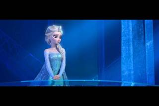 """This image released by Disney shows Elsa the Snow Queen, voiced by Idina Menzel, in a scene from the animated feature """"Frozen."""" (Disney)"""