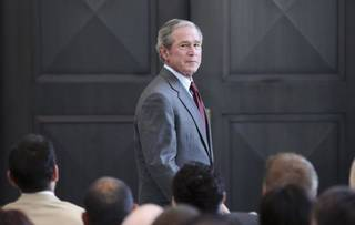 In this July 10 photo, former President George W. Bush appears at the George W. Bush Presidential Center in Dallas. The former president will speak in Tulsa on Thursday. (AP Photo/LM Otero, File)