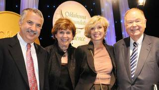 Thomas Friedman, Emily Stratton, Patti Mellow, David L. Boren. PHOTO PROVIDED