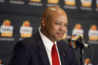 Stanford coach David Shaw speaks during a press conference in Paradise Valley, Ariz. Sunday, Jan. 1, 2012. Oklahoma State will play Stanford in the Fiesta Bowl on Monday, January 2, 2012. Photo by Bryan Terry, The Oklahoman