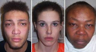 From left to right, Marcus Trinidad Mitchell, 23; Ashley Ann Williamson Mitchell, 24; and Juanachellee Lanyl Fitch, 48. Photo courtesy tulsaworld.com