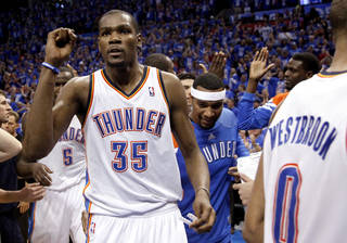 Oklahoma City's Kevin Durant (35) celebrates the Thunder's win following game one of the first round in the NBA playoffs between the Oklahoma City Thunder and the Dallas Mavericks at Chesapeake Energy Arena in Oklahoma City, Saturday, April 28, 2012. Photo by Sarah Phipps, The Oklahoman