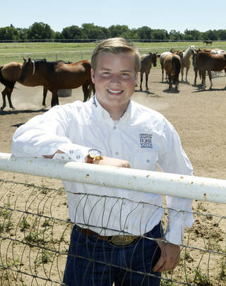 Austin Halvorson, who was elected president of the AQHYA, works at his parents ranch south of Guthrie, OK, Tuesday, September 3, 2013, Photo by Paul Hellstern, The Oklahoman