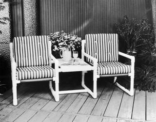 Outdoor furniture built with PVC. Photo provided