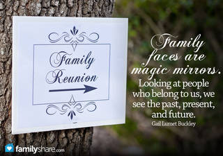 Family faces are magic mirrors. Looking at people who belong to us, we see the past, present, and future. ~Gail Lumet Buckley