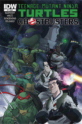 "The cover to IDW's upcoming ""Teenage Mutant Ninja Turtles-Ghostbusters"" crossover."