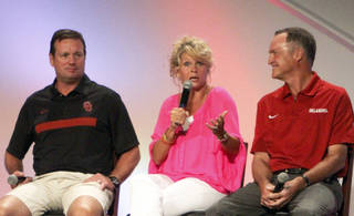 University of Oklahoma head coaches from left, Bob Stoops, Sherri Coale and Lon Kruger speak during the 2013 Sooner Caravan on Wednesday, July 31, 2013 at the Cox Convention Center. Photo by Aliki Dyer/ The Oklahoman