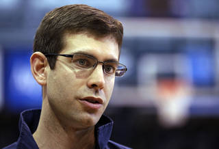 Butler coach Brad Stevens answers questions about his team in Indianapolis, Monday, March 21, 2011. Butler is scheduled to play Wisconsin on Thursday in the NCAA college basketball tournament Southeast regional in New Orleans. (AP Photo/Michael Conroy) ORG XMIT: INMC104