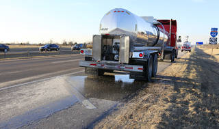 A tanker truck is parked Wednesday along southbound Interstate 44 just south of SW 89 in Oklahoma City. The tanker started leaking its load of syrup on I-44 in northwest Oklahoma City. Photo by Paul B. Southerland, The Oklahoman PAUL B. SOUTHERLAND -