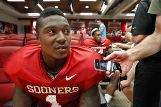 Tony Jefferson (1) speaks to the press at a media availability for the University of Oklahoma Sooner (OU) football team following practice on Tuesday, Aug. 21, 2012 in Norman, Okla. Photo by Steve Sisney, The Oklahoman