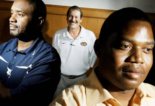Star Spencer coach Darrell Hall, left, and Douglass coach Willis Alexander, right, with Oklahoma City Public Schools athletic director Phil Ingersoll. Star Spencer and Douglass will meet for the Class 4A championship Saturday. Photo by Doug Hoke, The Oklahoman