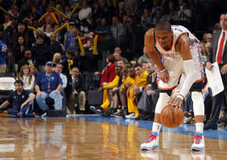 Oklahoma City's Russell Westbrook (0) reacts after stealing a ball during the NBA game between the Indiana Pacers and the Oklahoma City Thunder at the Chesapeake Energy Arena Sunday,Dec. 9, 2012. Photo by Sarah Phipps, The Oklahoman