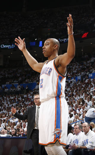Caron Butler (2) acknowledges the crowd after a three pointer during Game 5 of the Western Conference semifinals in the NBA playoffs between the Oklahoma City Thunder and the Los Angeles Clippers at Chesapeake Energy Arena in Oklahoma City, Tuesday, May 13, 2014. PHOTO BY SARAH PHIPPS, The Oklahoman