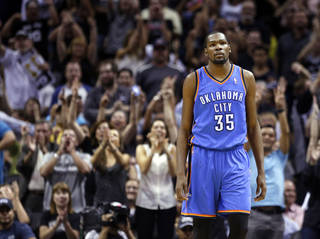 Oklahoma City's Kevin Durant (35) reacts during Game 5 of the Western Conference Finals in the NBA playoffs between the Oklahoma City Thunder and the San Antonio Spurs at the AT&T Center in San Antonio, Thursday, May 29, 2014. Photo by Sarah Phipps, The Oklahoman