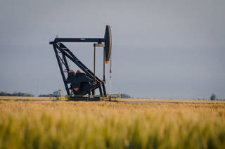 A pump jack operates at Chaparral Energy Inc.'s Farnsworth enhanced oil recovery unit, one of six such projects in the Oklahoma and Texas panhandles. Photo provided -