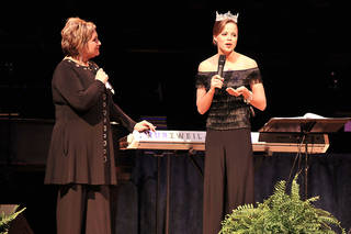 Sandi Patty, left, listens as Miss America Katie Stam talks about her Christian faith. Photo provided