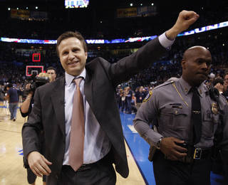 Thunder head coach Scott Brooks waves to the crowd following the NBA basketball game between the Denver Nuggets and the Oklahoma City Thunder in the first round of the NBA playoffs at the Oklahoma City Arena, Wednesday, April 27, 2011. Photo by Sarah Phipps, The Oklahoman
