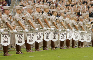 Members of the Texas A&M Fighting Aggie Band line up to perform at halftime during the college football game between Oklahoma State University (OSU) and Texas A&M University at Kyle Field in College Station, Texas, Saturday, October 10, 2009. Photo by Nate Billings, The Oklahoman ORG XMIT: KOD