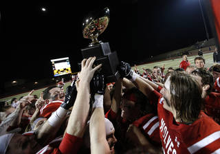 Davis celebrates their win over Millwood in the Class 2A state football championship game at Moore High School in Moore, Okla., Thursday, Dec. 19, 2013. Photo by Sarah Phipps, The Oklahoman