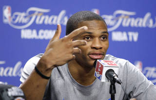 Oklahoma City's Russell Westbrook answers a question during a press conference for Game 5 of the NBA Finals between the Oklahoma City Thunder and the Miami Heat at American Airlines Arena, Wednesday, June 20, 2012. Photo by Bryan Terry, The Oklahoman