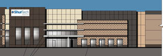 This architect's drawing shows how the ShurTech Brands LLC distribution center, developed by Gardner-Tanenbaum Group, will look when complete on the northeast corner of Interstate 35 and Britton Road. - PROVIDED BY GARDNER-TANENBAUM GR