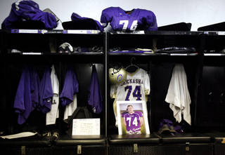 Kody Turner's locker is pictured inthe Chickasha locker room before the football game between Chickasha and Capitol Hill at Chickasha High School, Friday, Oct. 1, 2010, at the Bethany, Okla. It was the first home game since the death of player Kody Turner. Photo by Sarah Phipps, The Oklahoman