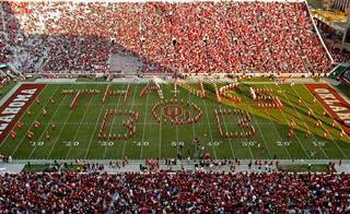 "The ""Pride of Oklahoma"" band spells out ""Thanks Bob"" in honor of radio personality Bob Barry during half-time of the college football game between the University of Oklahoma Sooners (OU) and the Texas Tech Red Raiders (TTU) at the Gaylord Family-Oklahoma Memorial Stadium on Saturday, Nov. 13, 2010, in Norman, Okla. Photo by Steve Sisney, The Oklahoman"