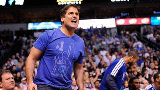 Jan 27, 2013; Dallas, TX, USA; Dallas Mavericks owner Mark Cuban yells at referee Brian Forte (not pictured) during the second half of the game between the Mavericks and the Phoenix Suns at the American Airlines Center. The Mavericks defeated the Suns 110-95. Mandatory Credit: Jerome Miron-USA TODAY Sports