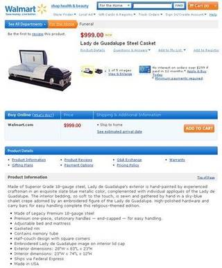 In this screen shot taken from WalMart.com, a casket for sale on the Wal-Mart Web site is shown. Wal-Mart quietly put up about 15 caskets and dozens of urns on its Web site last week. (AP Photo/WalMart.com)