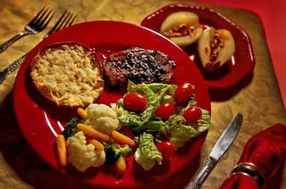 Healthy valentines day pork chop on Friday, Feb. 8, 2013, in Oklahoma City, Okla. Photo by Chris Landsberger, The Oklahoman