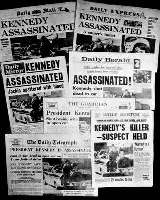 ADVANCE FOR USE SUNDAY, NOV. 17, 2013 AND THEREAFTER - This Friday, Nov. 22, 1963 file photo shows the front pages of seven British national daily newspapers in London headlining the assassination of U.S. President John F. Kennedy. Friday, Nov. 22, 2013 marks the 50th anniversary of his death. (AP Photo/File)
