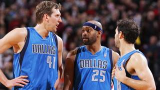 PORTLAND, OR - DECEMBER 7: Dirk Nowitzki #41, Vince Carter #25 and Jose Calderon #8 of the Dallas Mavericks talk during the game against the Portland Trail Blazers on December 7, 2013 at the Moda Center Arena in Portland, Oregon. NOTE TO USER: User expressly acknowledges and agrees that, by downloading and or using this photograph, user is consenting to the terms and conditions of the Getty Images License Agreement. Mandatory Copyright Notice: Copyright 2013 NBAE (Photo by Sam Forencich/NBAE via Getty Images)