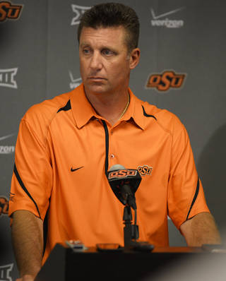 Oklahoma State coach Mike Gundy speak at a media availability session Thursday inside Gallagher-Iba Arena. Photo by KT King, For the Oklahoman