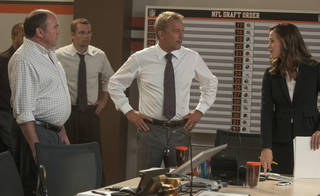 """Kevin Costner and Jennifer Garner face off in a scene from """"Draft Day."""" Summit Entertainment Photo Dale Robinette - AP"""