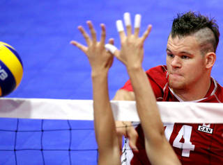 Greg Stewart, a member of the Canadian team, plays against China during the third day of competition at the World Sitting Volleyball Championships in Edmond, Okla., on Tuesday, July 13, 2010. Photo by John Clanton, The Oklahoman