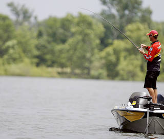 Four-time Bassmaster Classic champ Kevin VanDam fishes on Grand Lake in the 2007 Sooner Run. Grand Lake was named the No. 17 best bass lake in the country by Bassmaster Magazine. PHOTO FROM THE OKLAHOMAN ARCHIVE