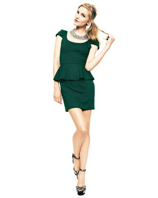 After color authority Pantone named emerald the official color of 2013, the green tone began popping up on runways and in stores everywhere. Here, Amanda Uprichard ponte peplum dress, $174, Cusp.com by Neiman Marcus. (Courtesy Cusp.com via Los Angeles Times/MCT)